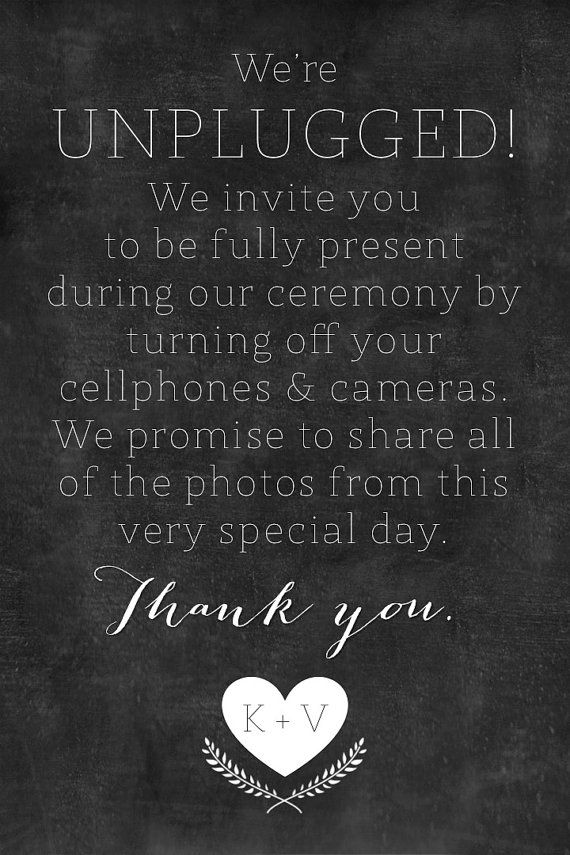 wedding unplug invite